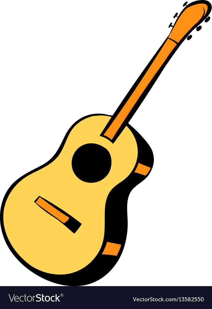 Acoustic guitar icon cartoon