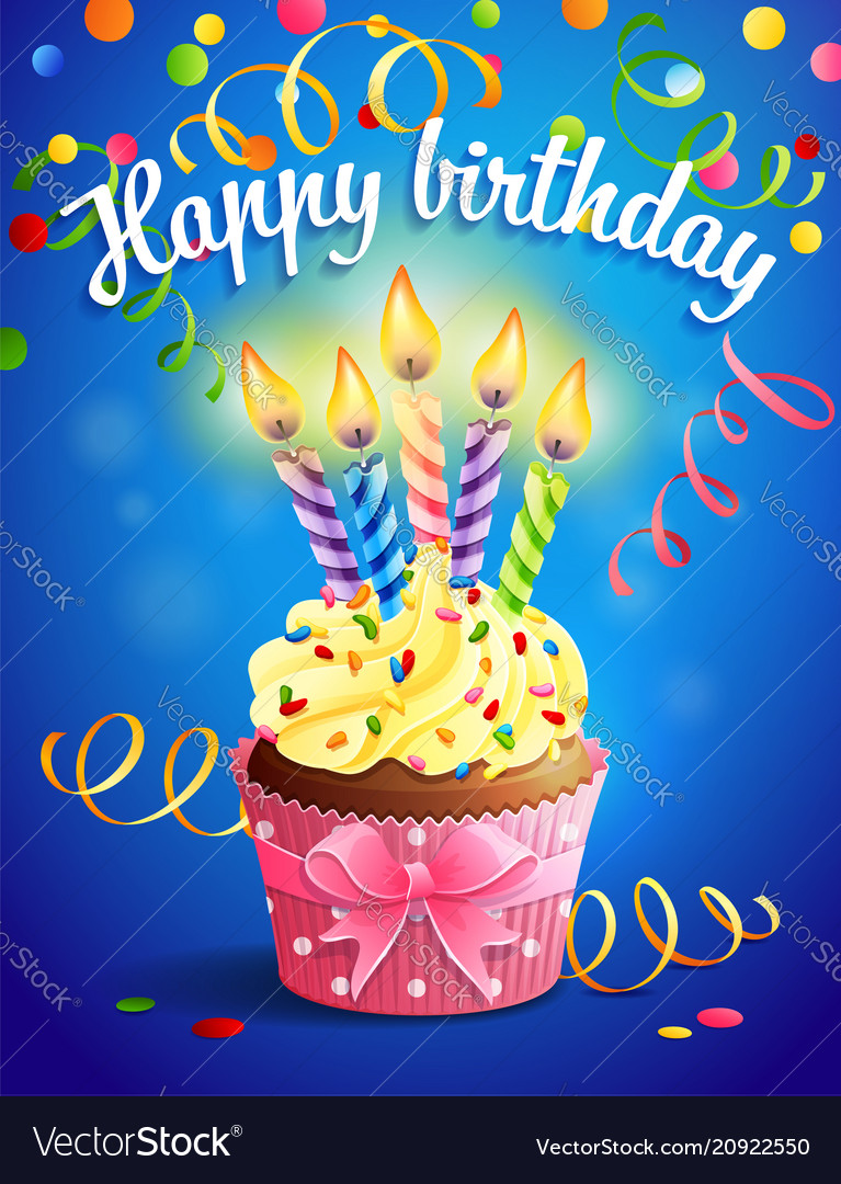Birthday card with cupcake and vector image