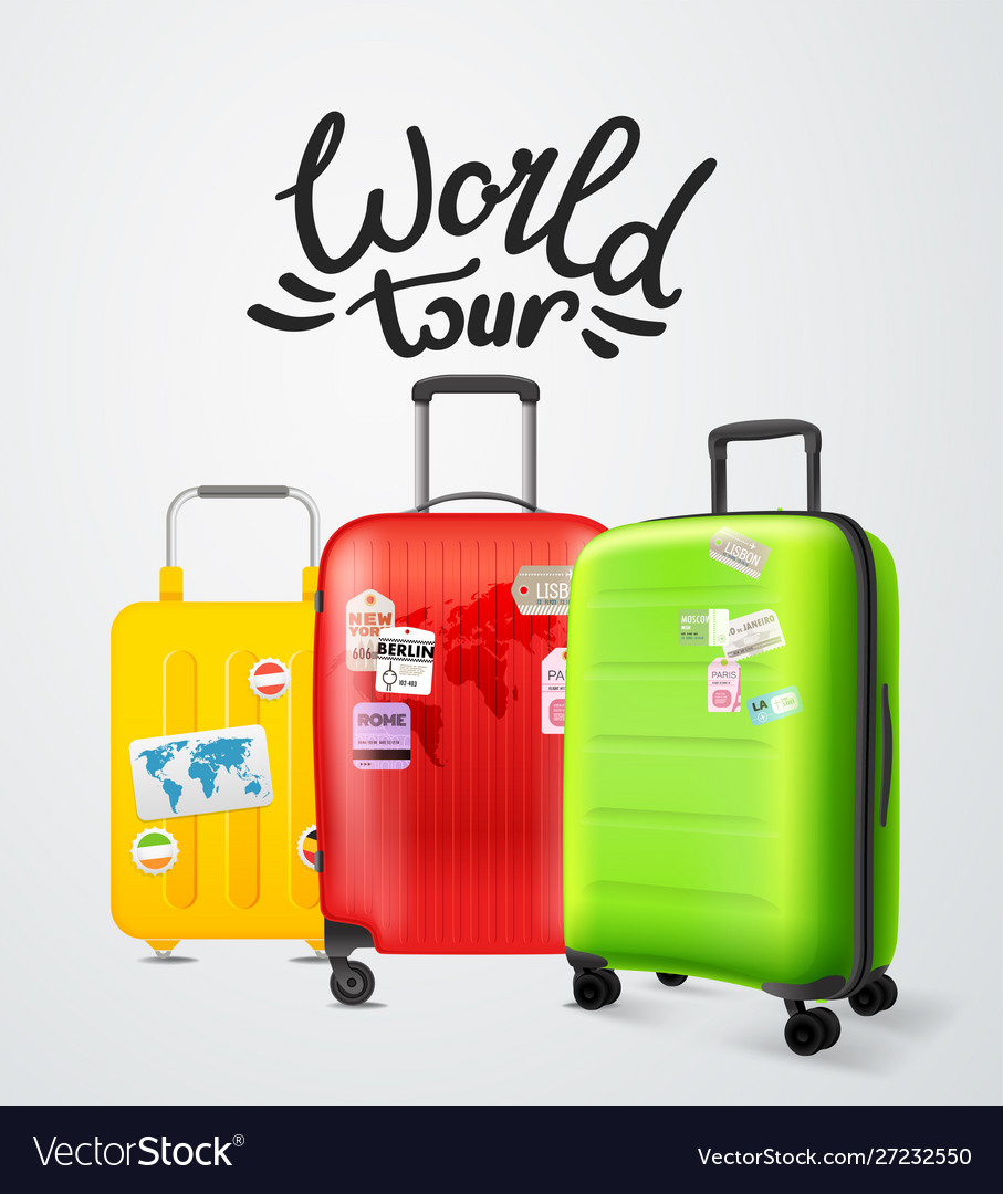 Color modern plastic suitcases with lettering