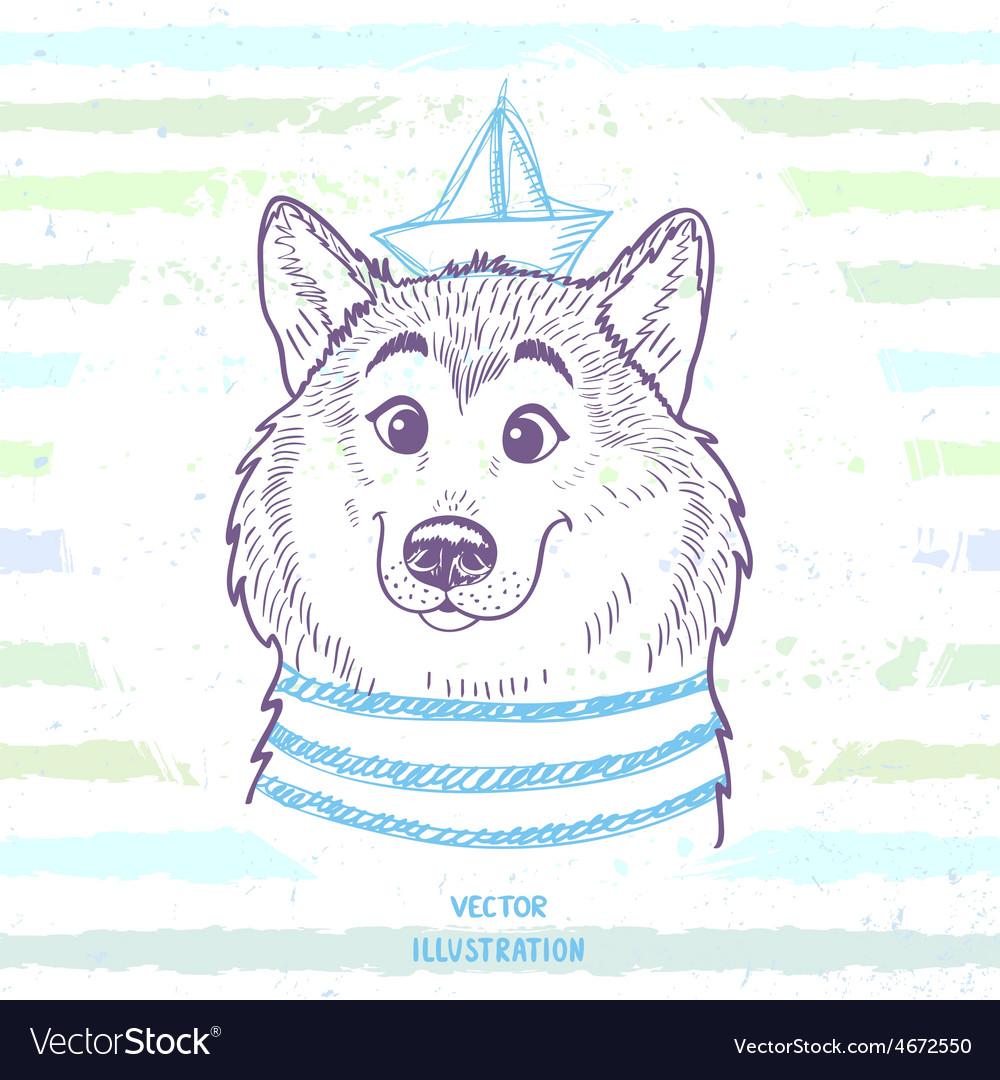 Dog marine style vector image