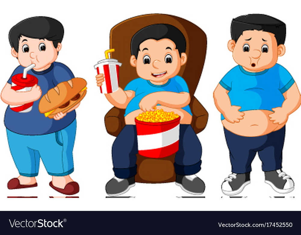 Fat boy smiling and ready to eat vector image