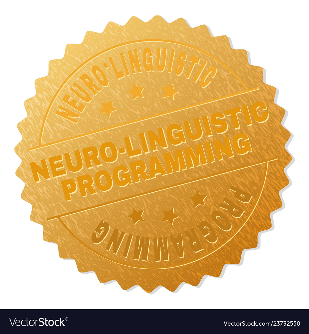 Golden Neuro Linguistic Programming Badge Stamp Vector Image