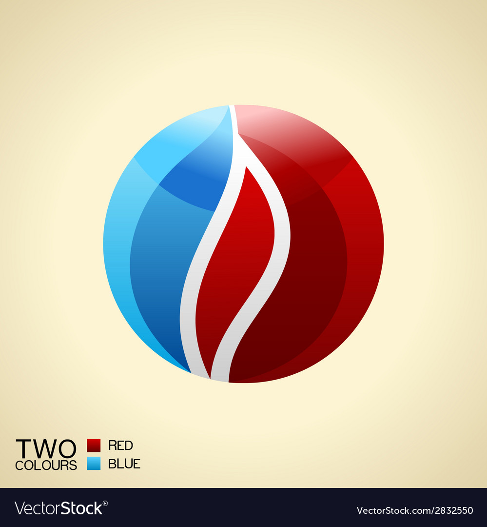 Logo symbol fire Red and blue Round glass icon vector image