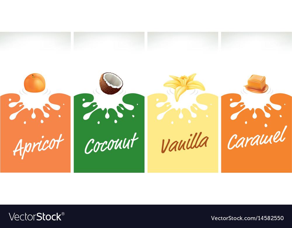 Milk splash with caramel coconut vanilla vector image