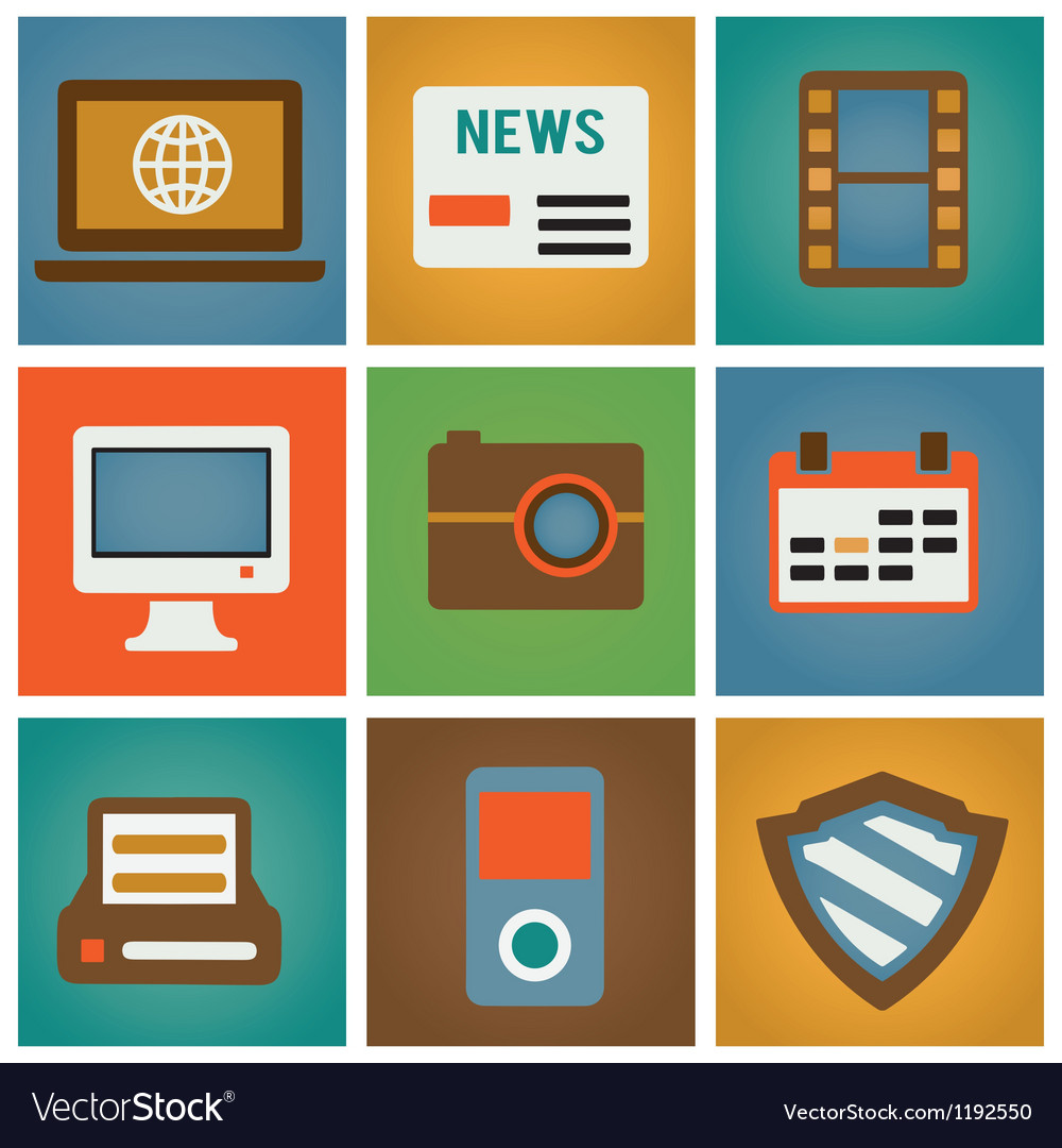 Retro social media icons for design vector image