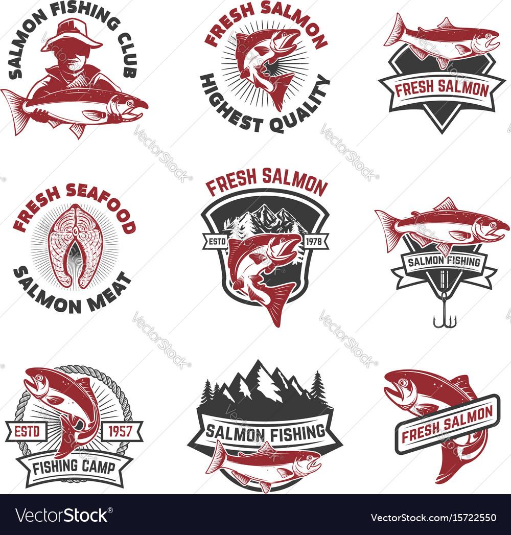 Set of salmon fishing emblems design elements for