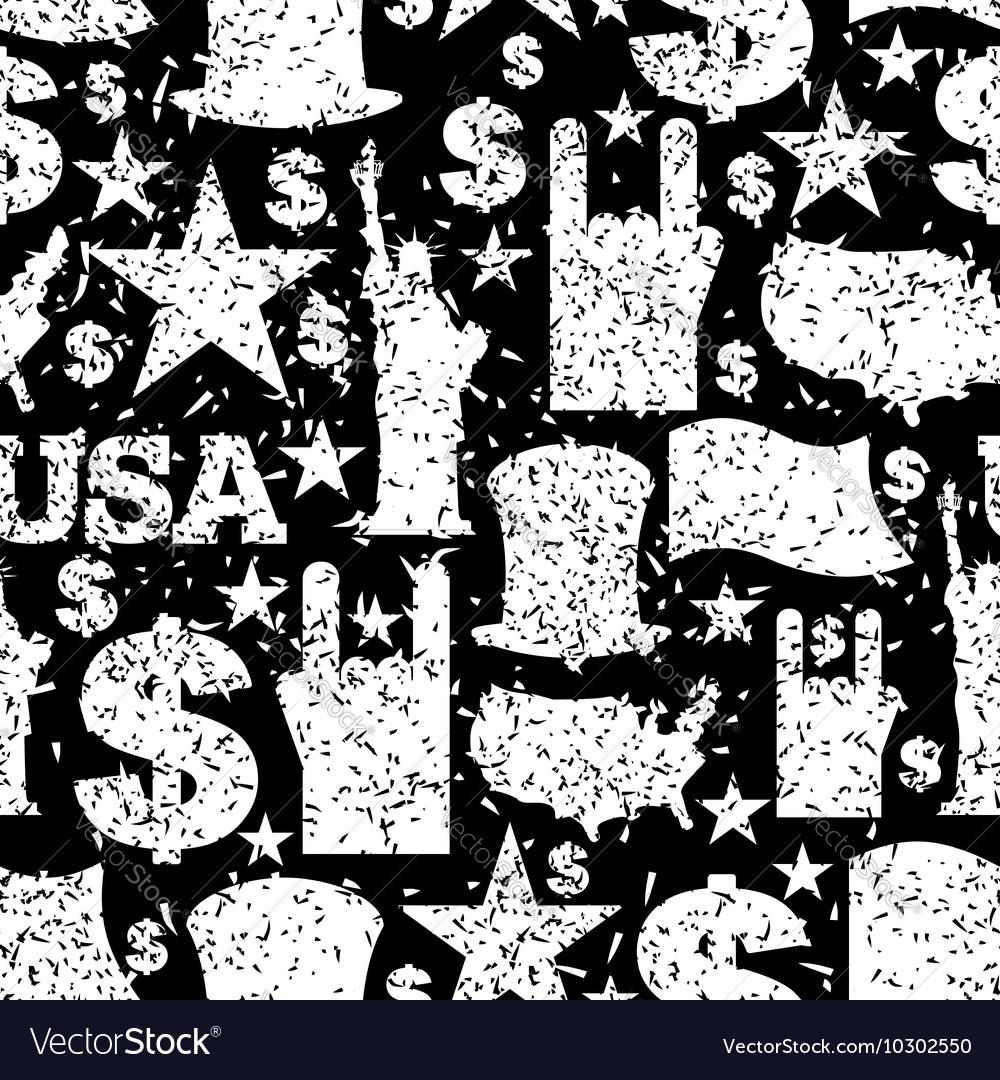 USA patriotic symbol seamless pattern grunge style vector image