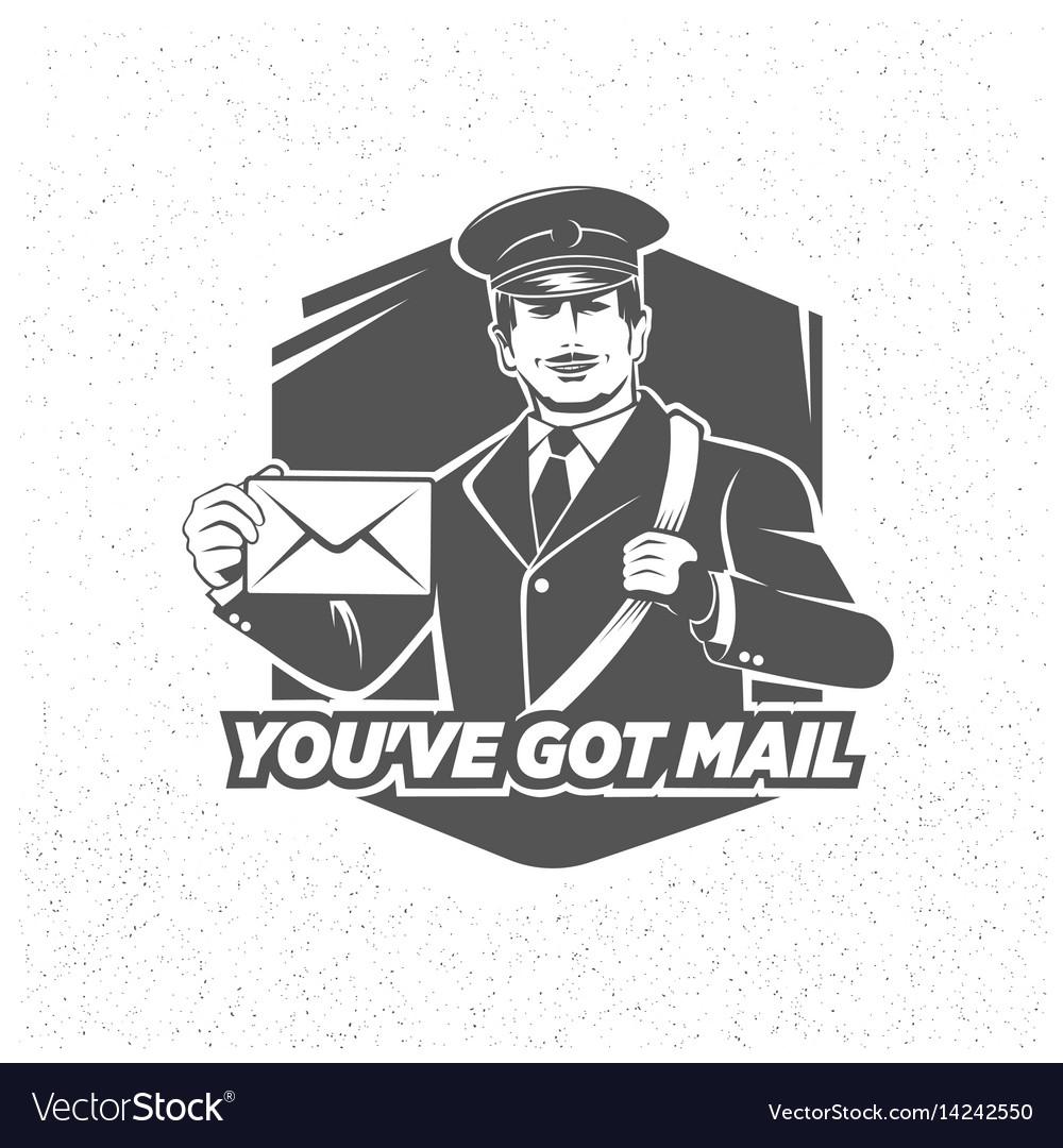 Vintage postman symbol mail stamp