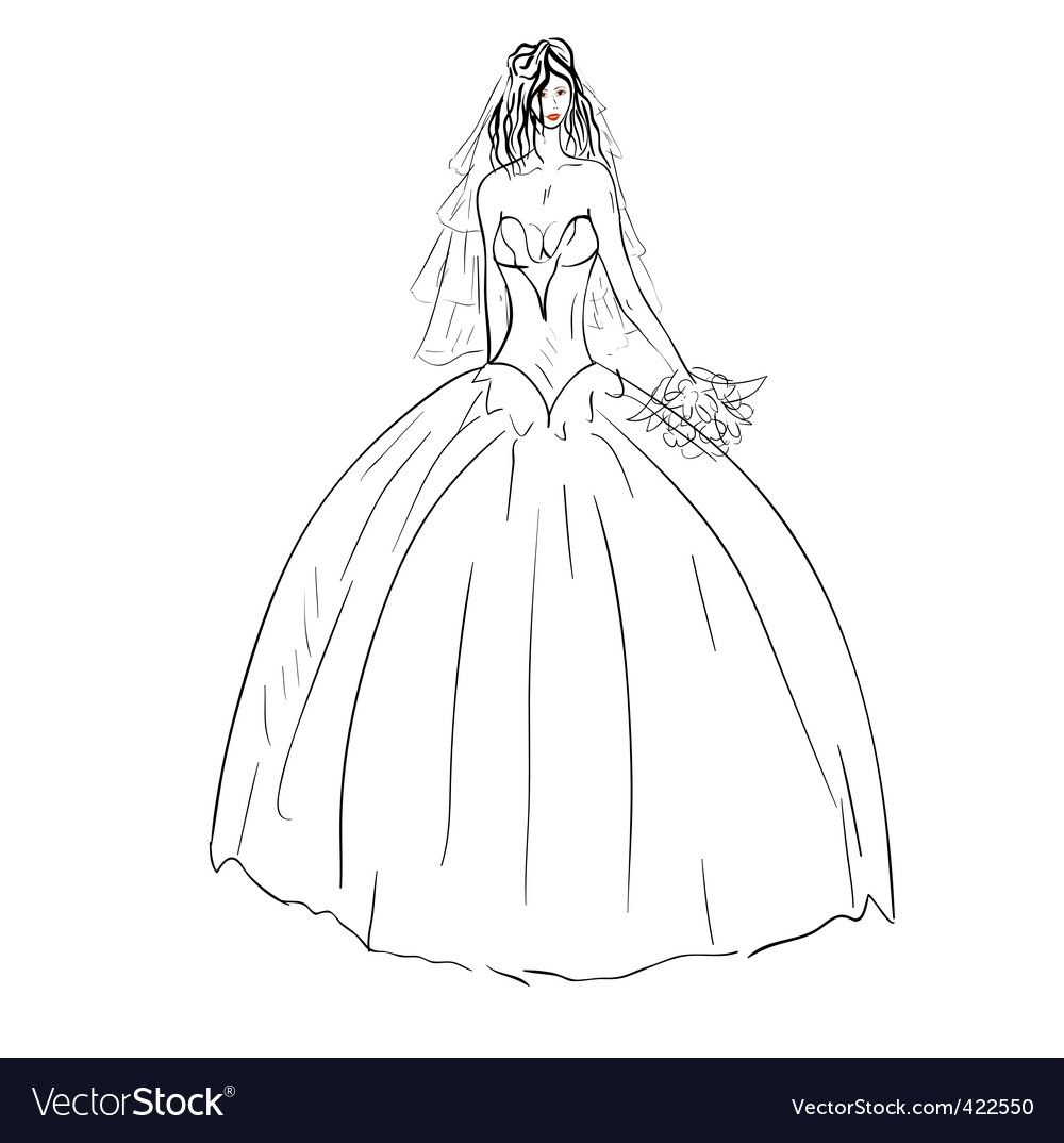Description bride in wedding dress white with bouquet