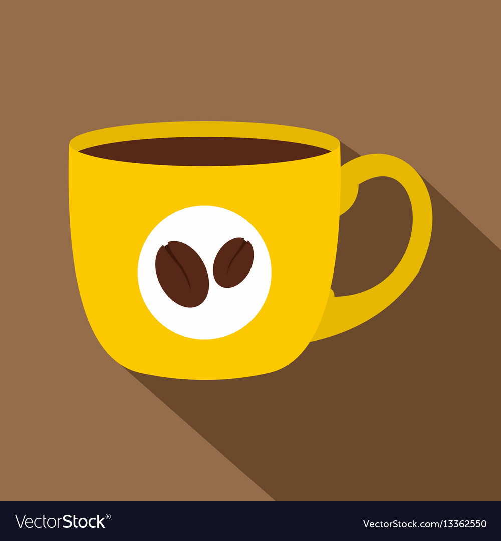 Style Of Cup Flat Coffee Yellow Icon xrdCBeQoW