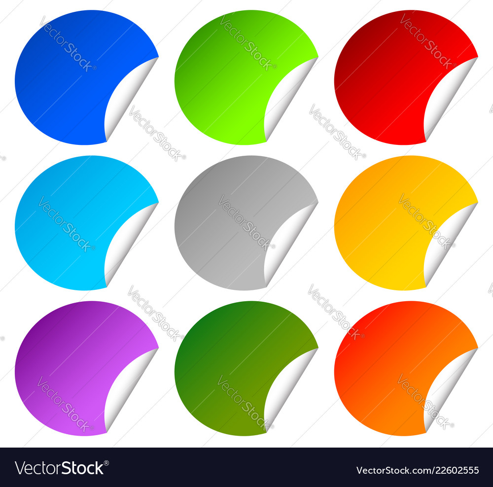 Colorful peeling stickers on white with blank
