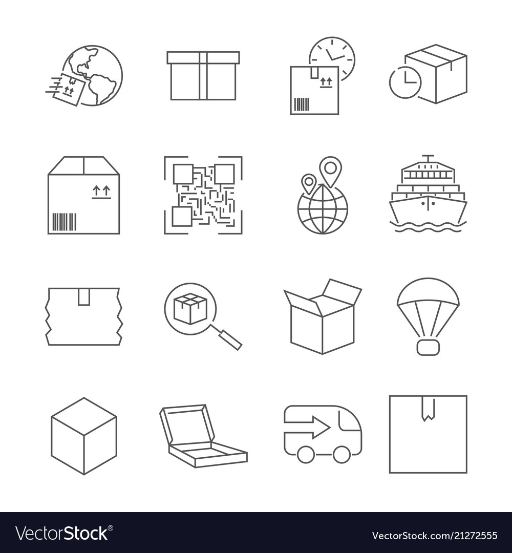 Delivery set of outline icons includes