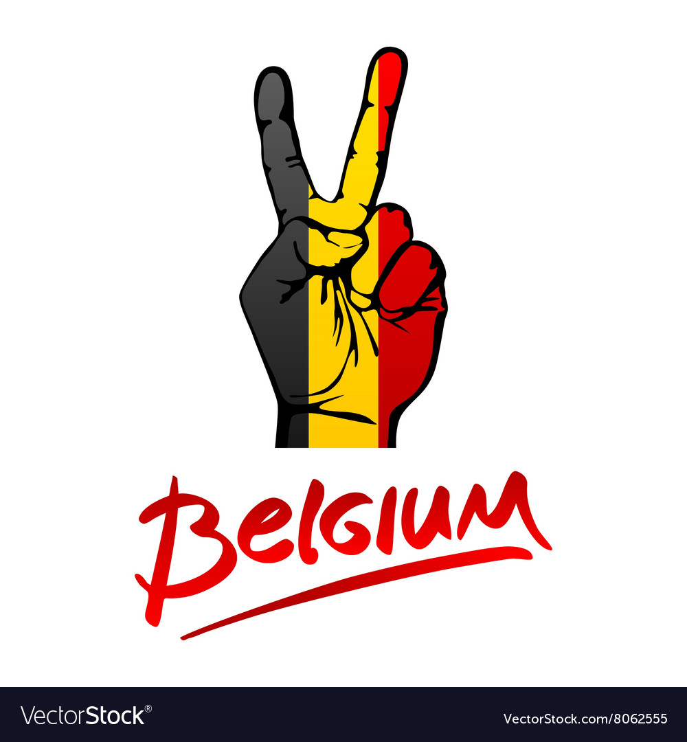 Hand making the V sign Belgium flag painted as