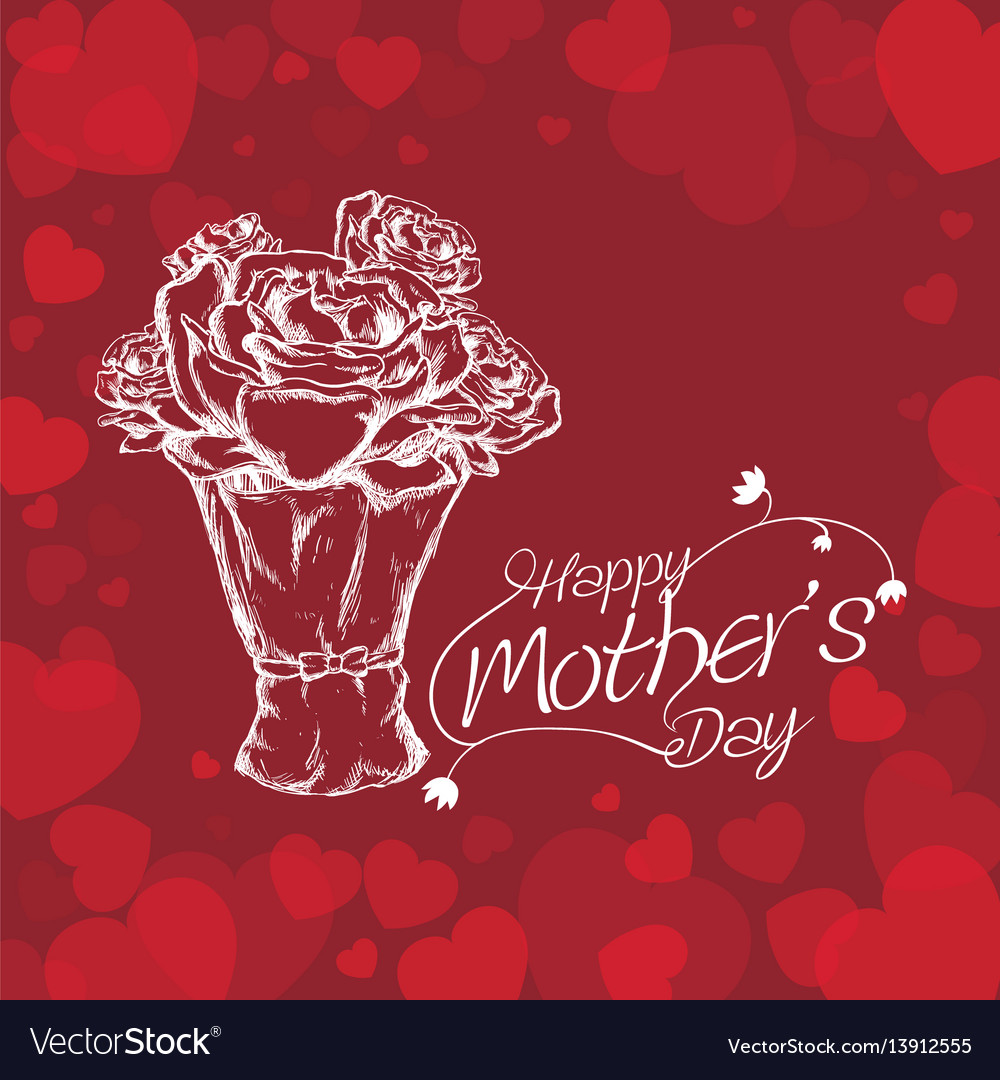 Happy mothers day white bouquet roses and