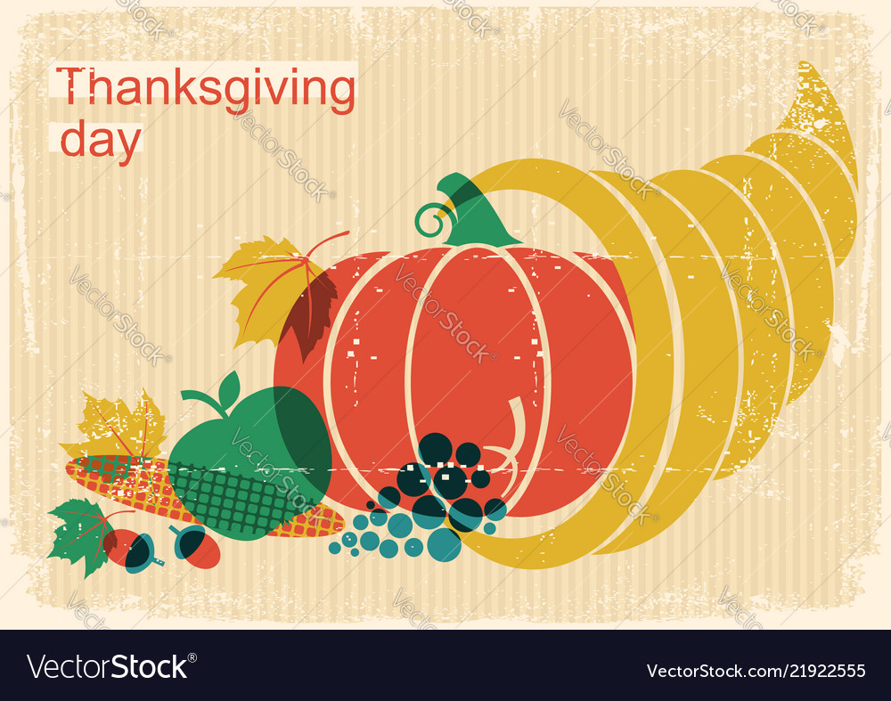 Happy thanksgiving day vintage poster with