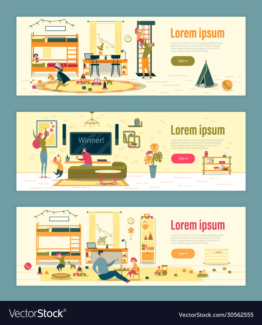 Home Entertainment And Family Fun Header Banner Vector Image