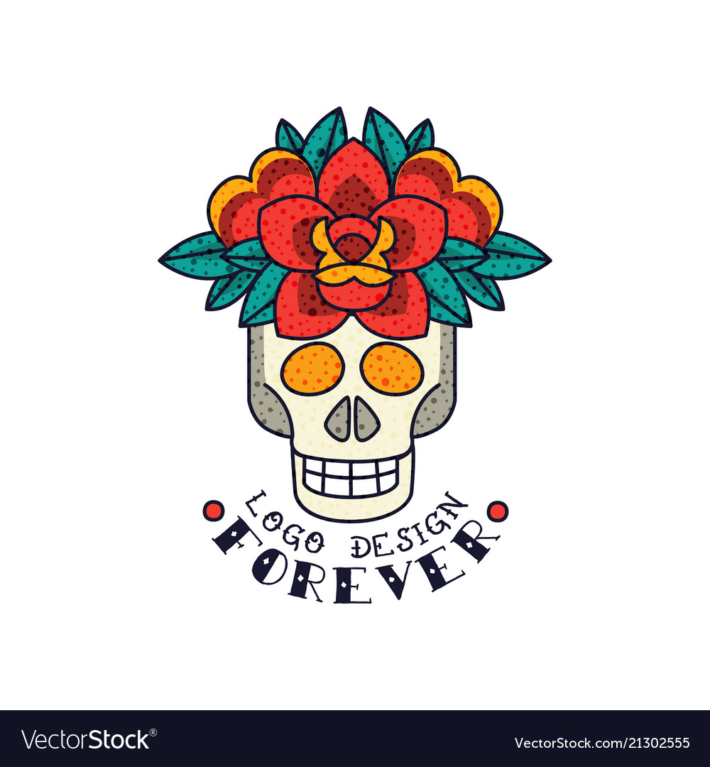 Human skull flowers and word forever classic