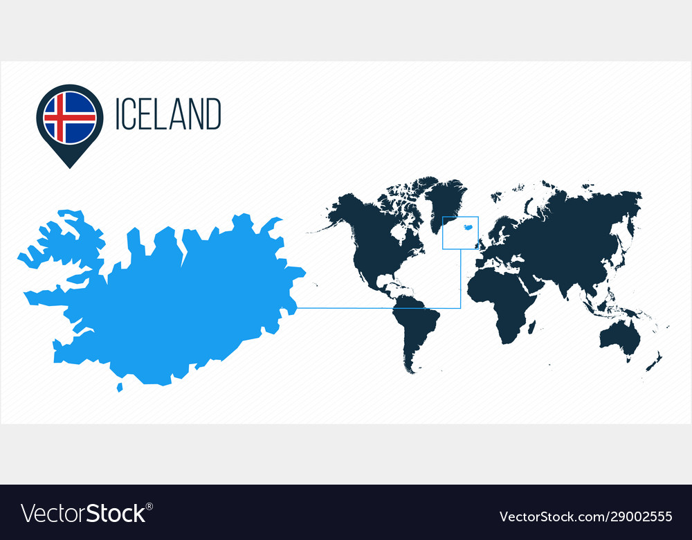 Iceland Map Located On A World Map With Flag And Vector Image