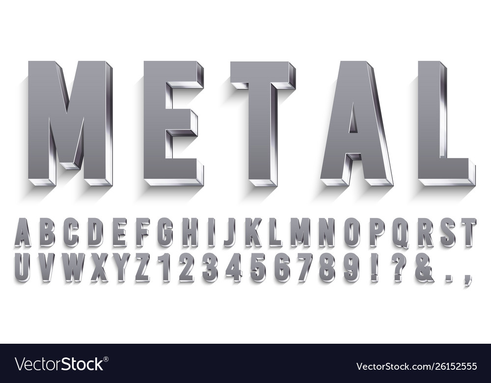 Realistic metal font shiny metallic letters with