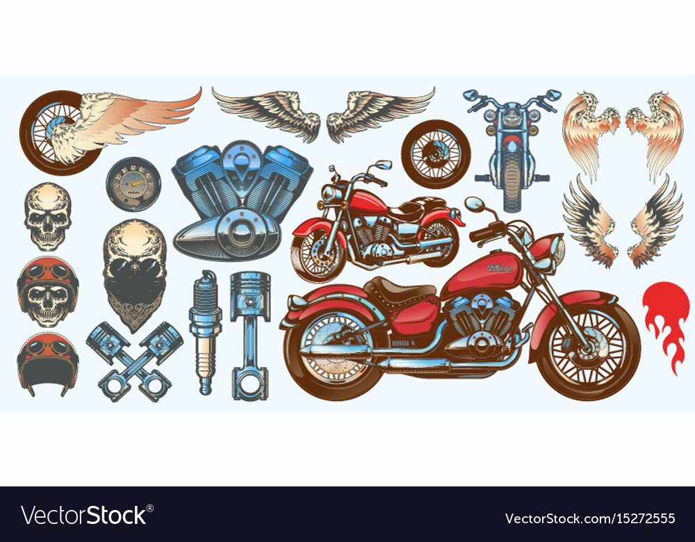 Set of icons of vintage motorcycle in various