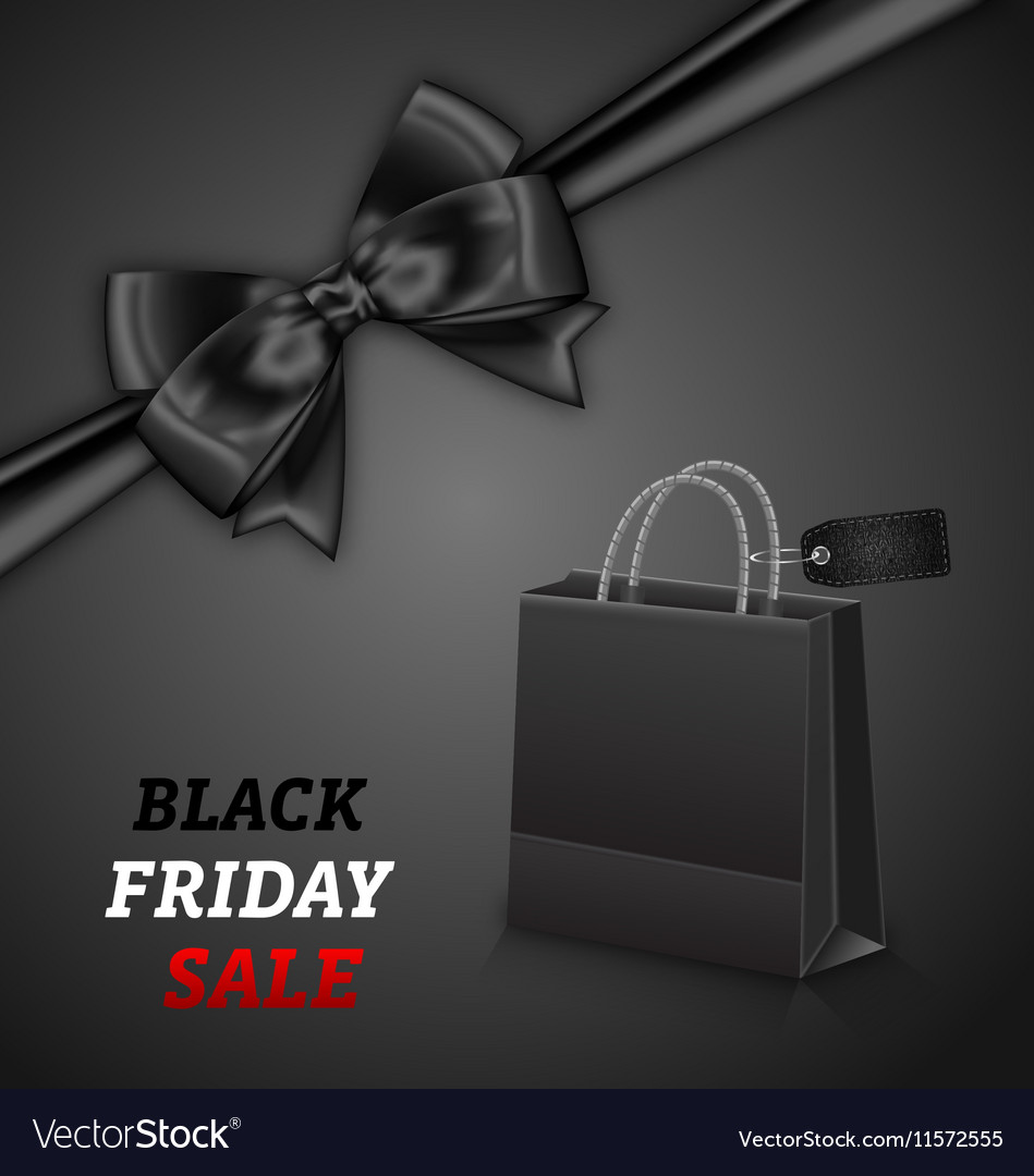 Shopping Paper Bag for Black Friday Sales and Bow