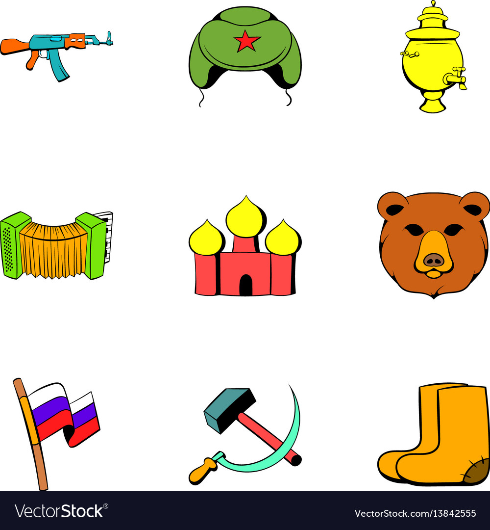 Soviet union icons set cartoon style