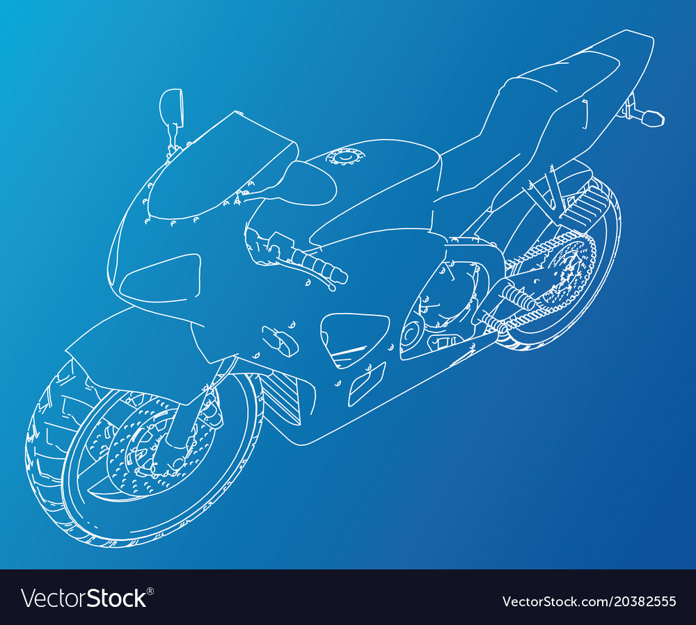 Sport motorcycle technical wire-frame Royalty Free Vector