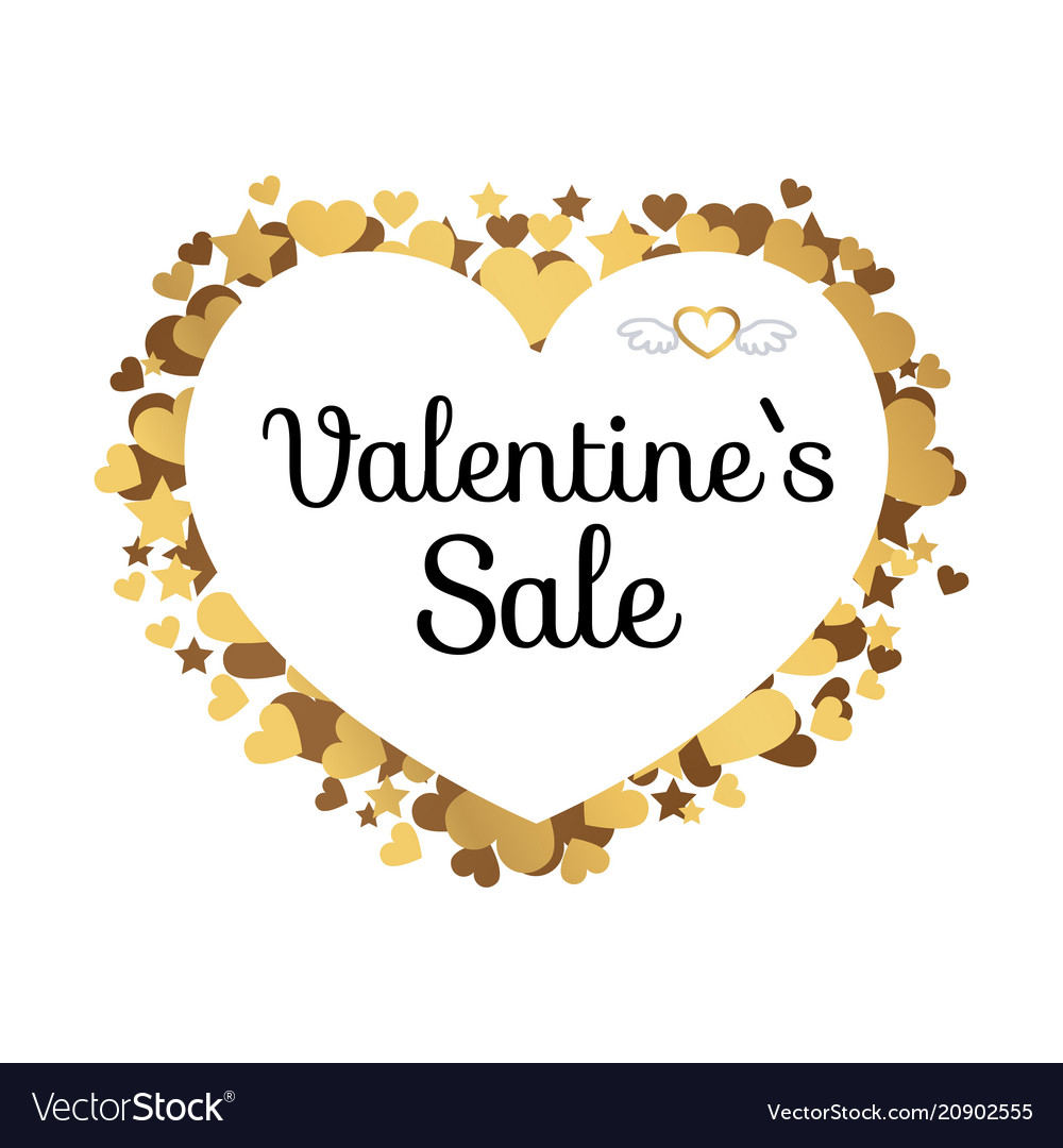 Valentines sale poster with inscription in hearts