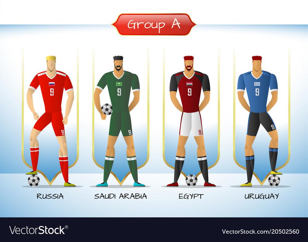 2018 soccer or football team uniform group a