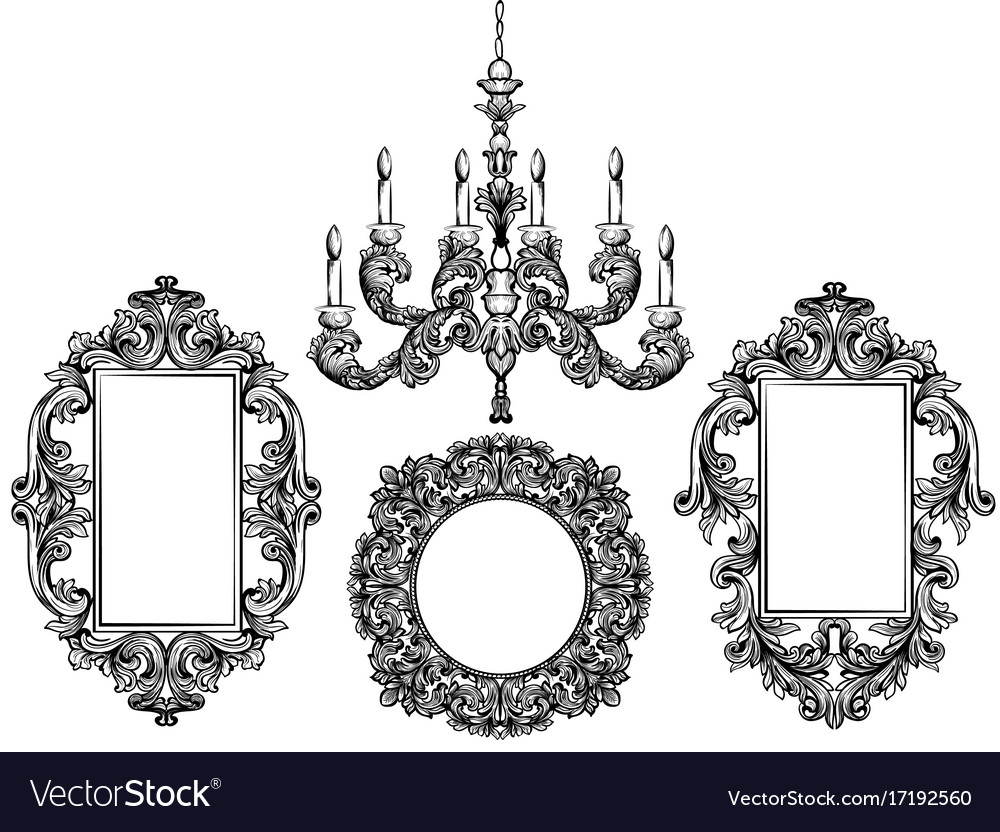 Baroque chandelier and mirror frames detailed vector image aloadofball Images