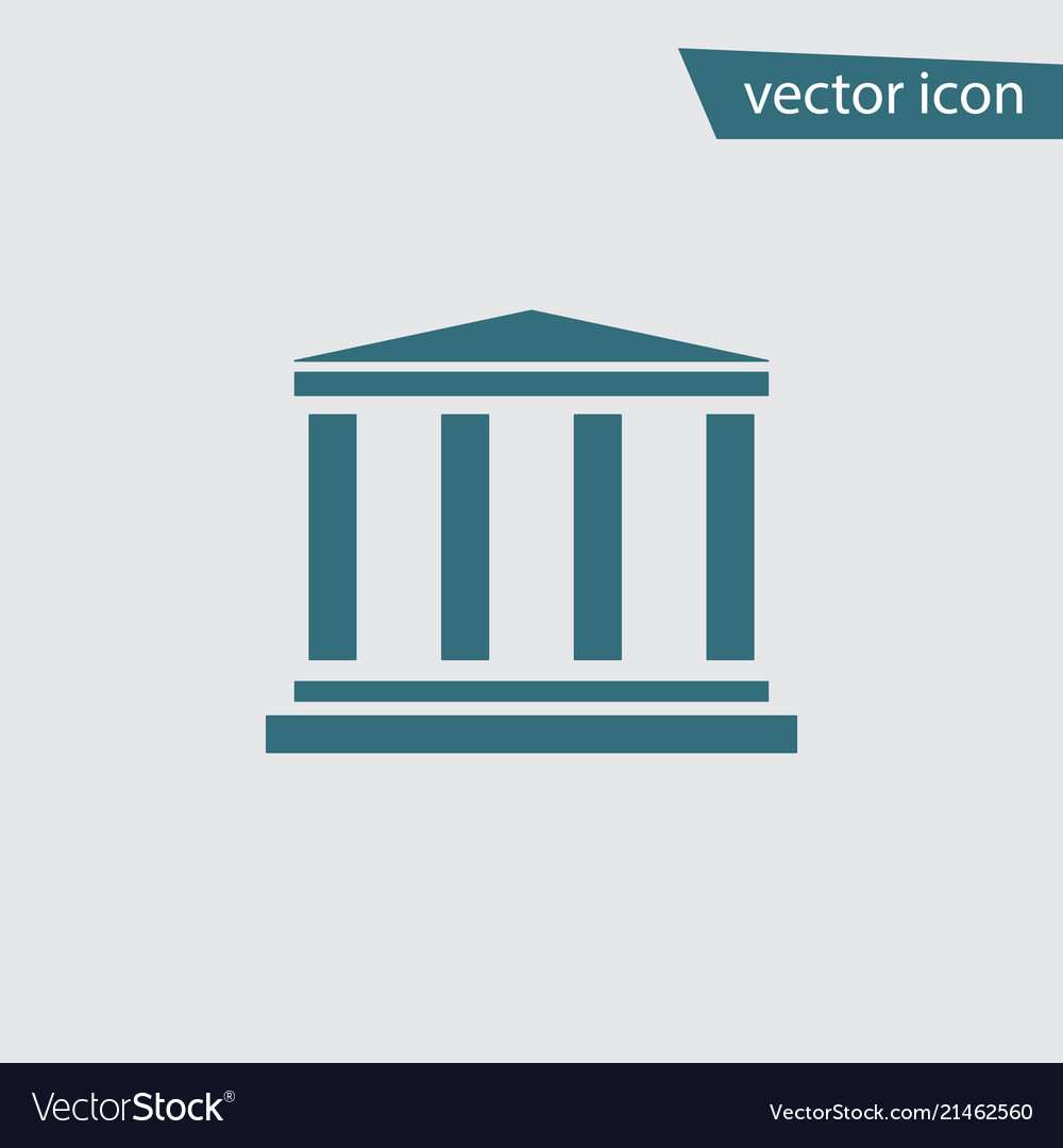 Blue bank icon isolated on background modern flat