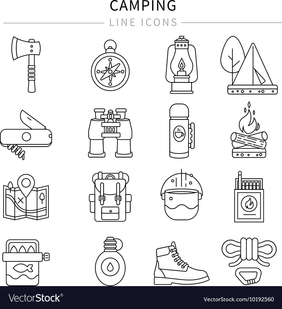 Camping Line Icon Set