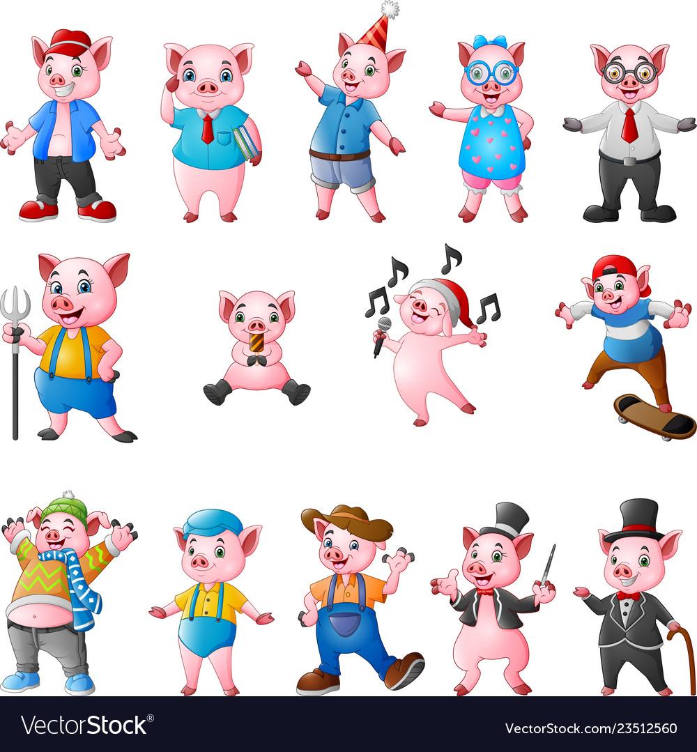 Cartoon pigs collection set