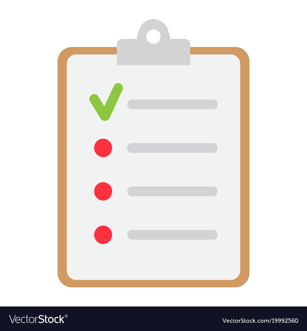 checklist flat icon clipboard and note royalty free vector