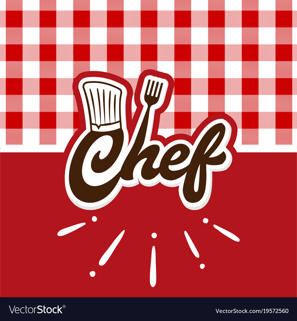 Chef Logo With Red Wallpaper Vector Image