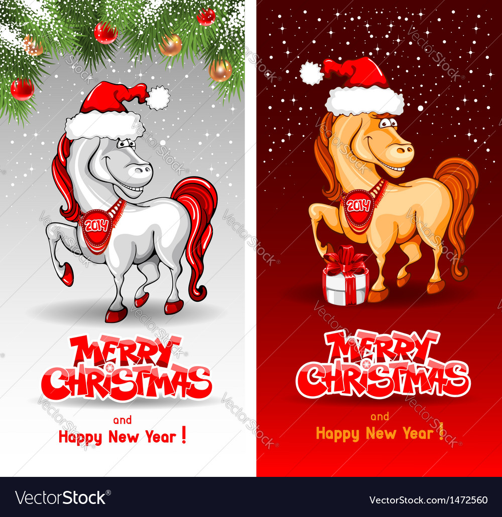 Christmas card with funny horse