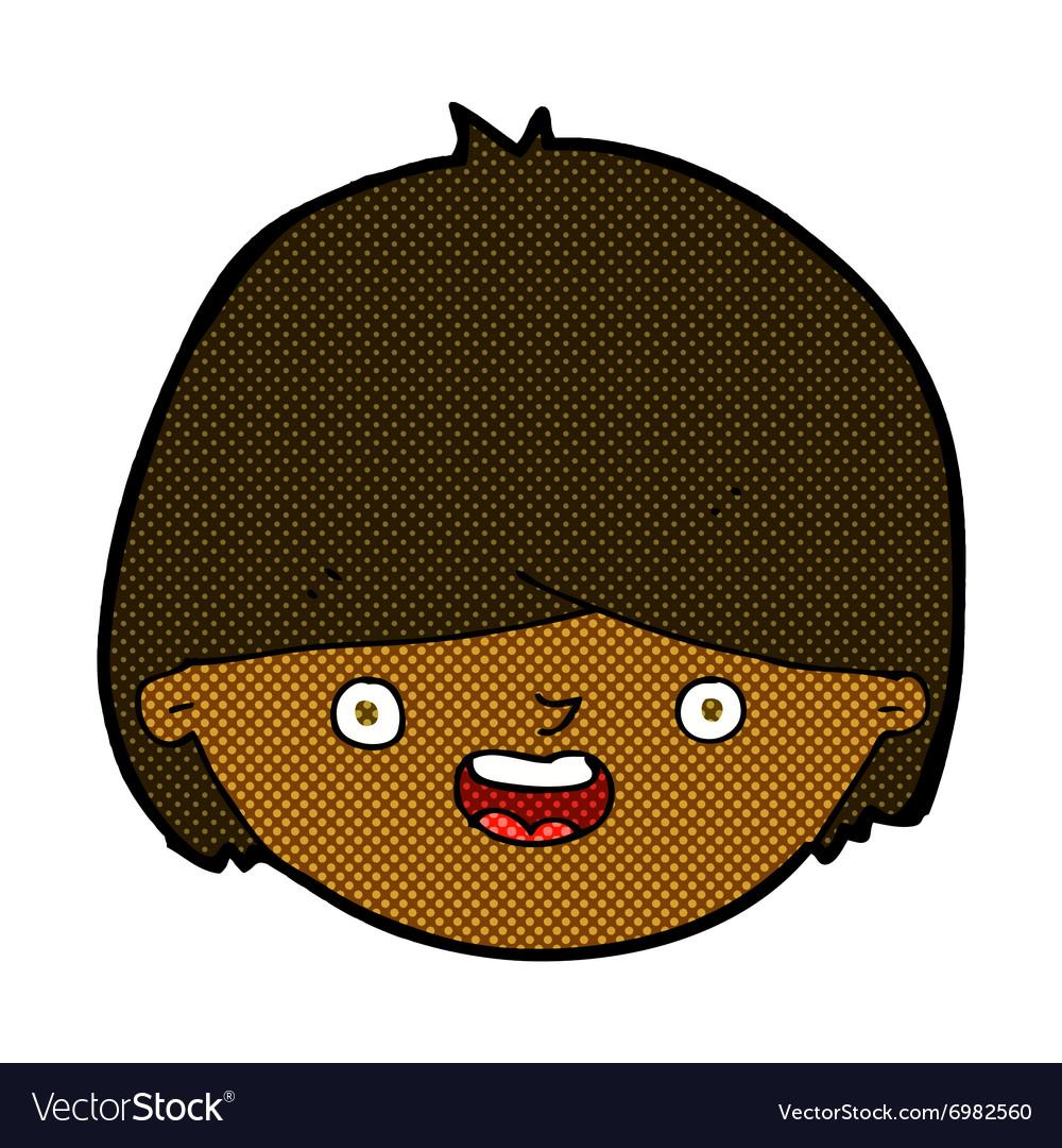 Comic cartoon happy face vector image