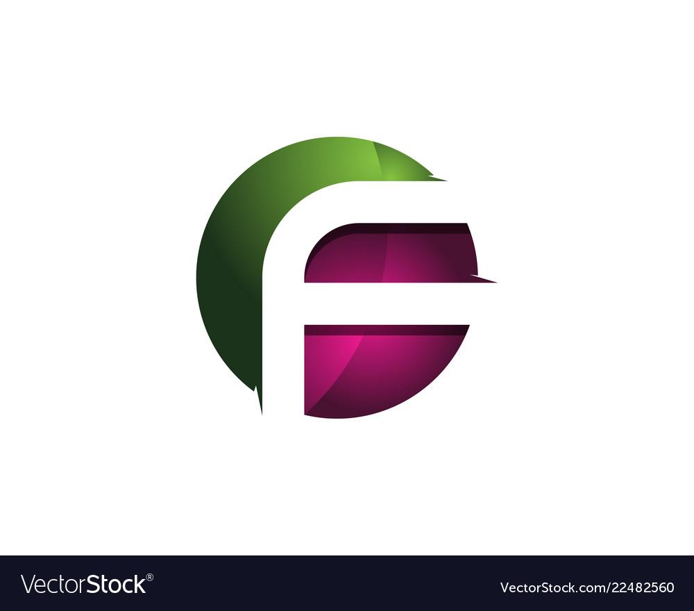 F 3d colorful circle letter logo icon design