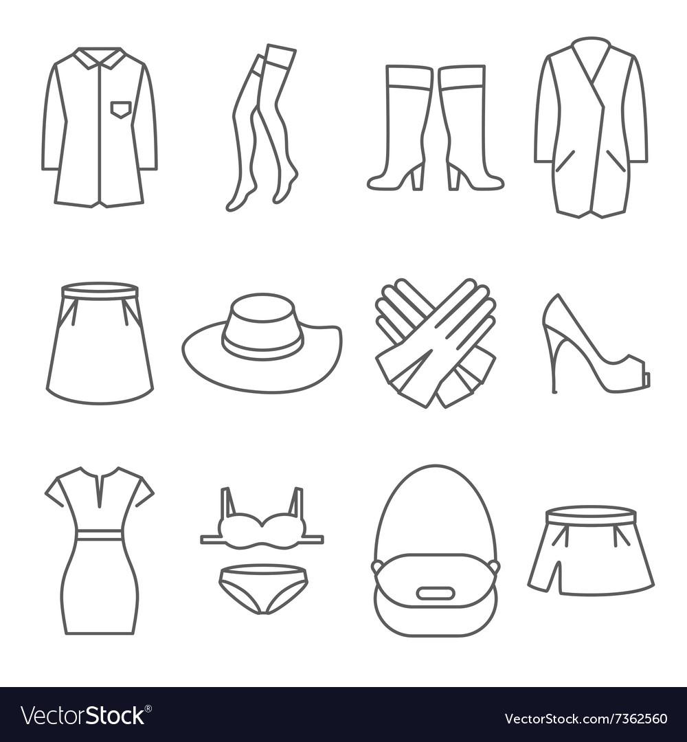 Female clothes line icons set