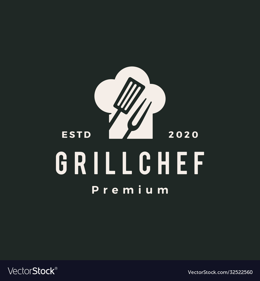 Grill chef hat restaurant spatula fork hipster