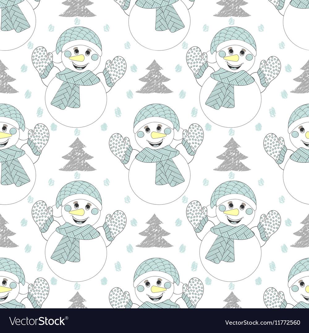 Happy snowman seamless pattern Hand drawn modern