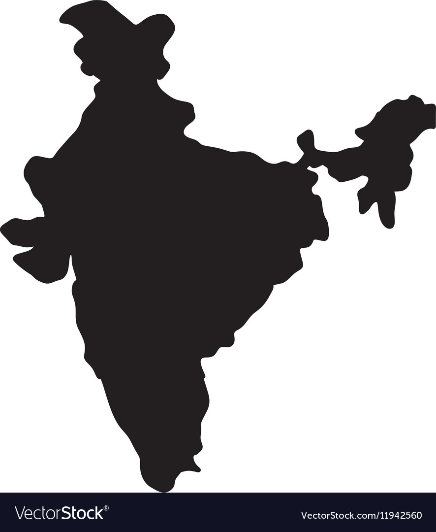 Captivating India Map Silhouette Vector Image
