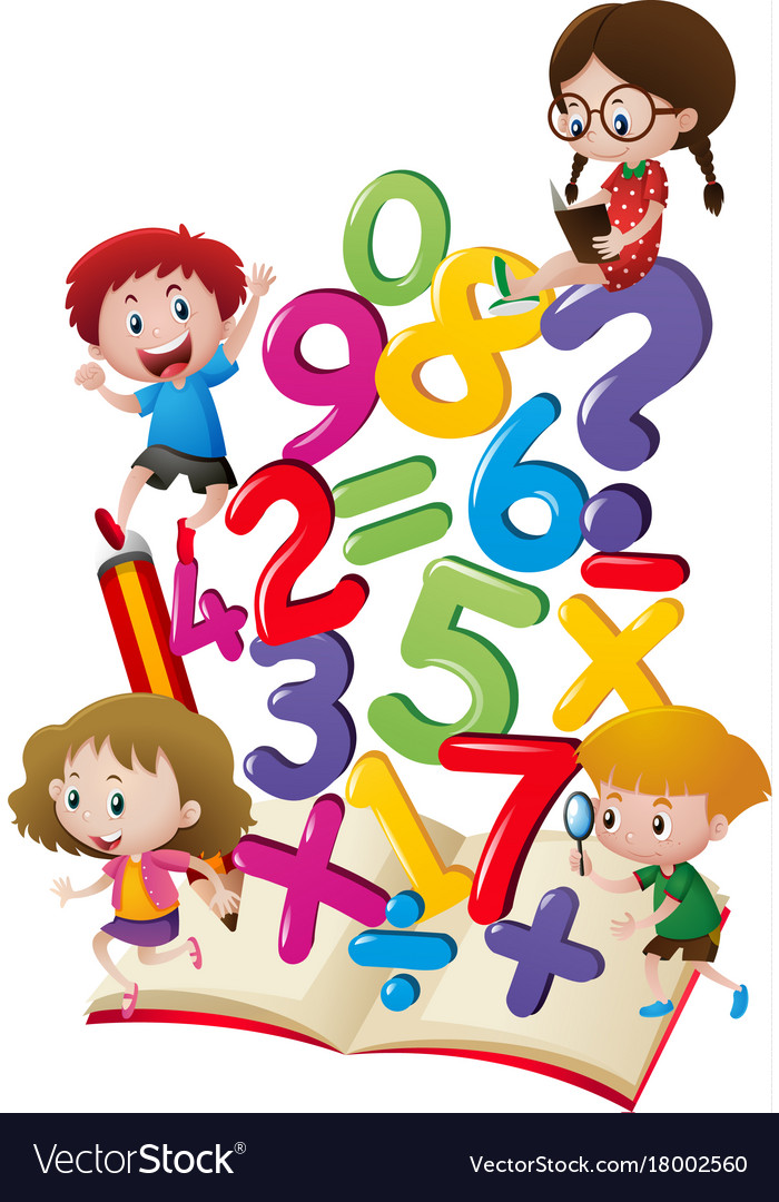 Kids and numbers in the book Royalty Free Vector Image