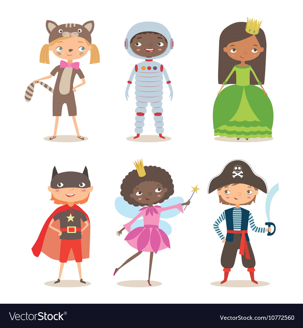 Kids of different nation in costumes for party or