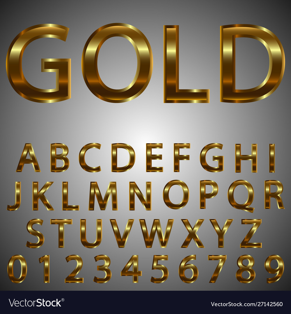 Metal gold effect letters and numbers