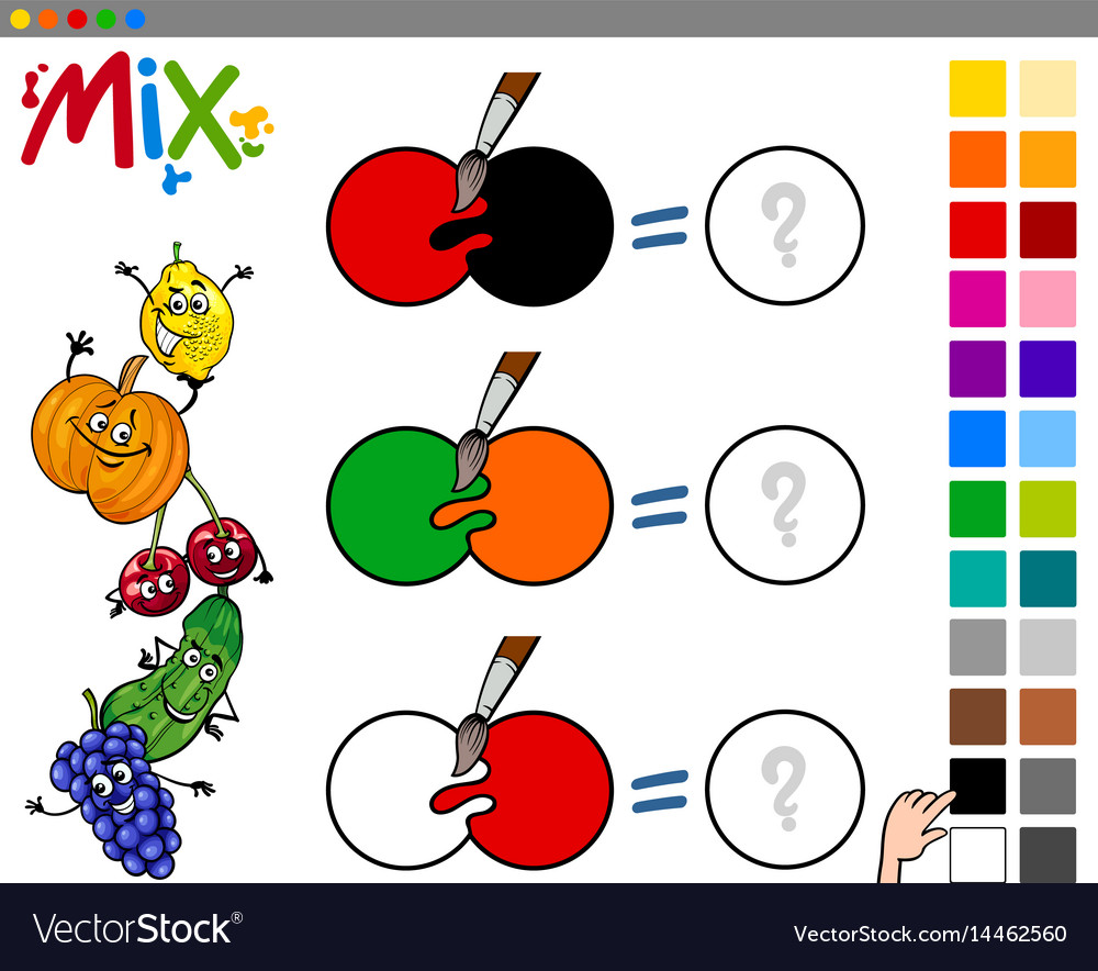Mix colors game for kids vector image