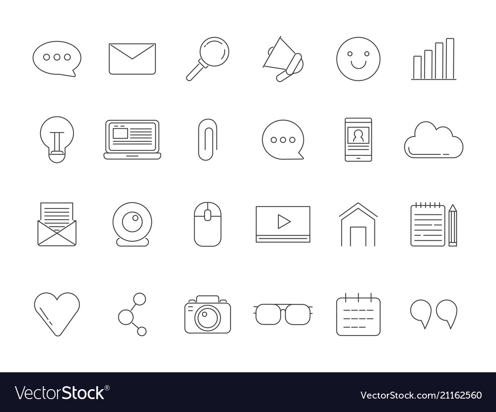 Mono line pictures set of various symbols for