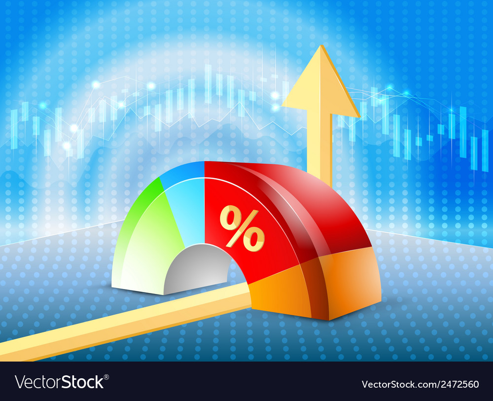pie chart on a blue with graph background vector image