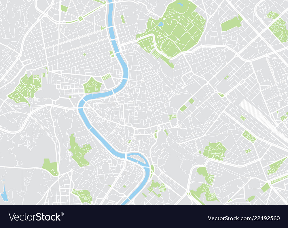 Rome colored map Royalty Free Vector Image - VectorStock on
