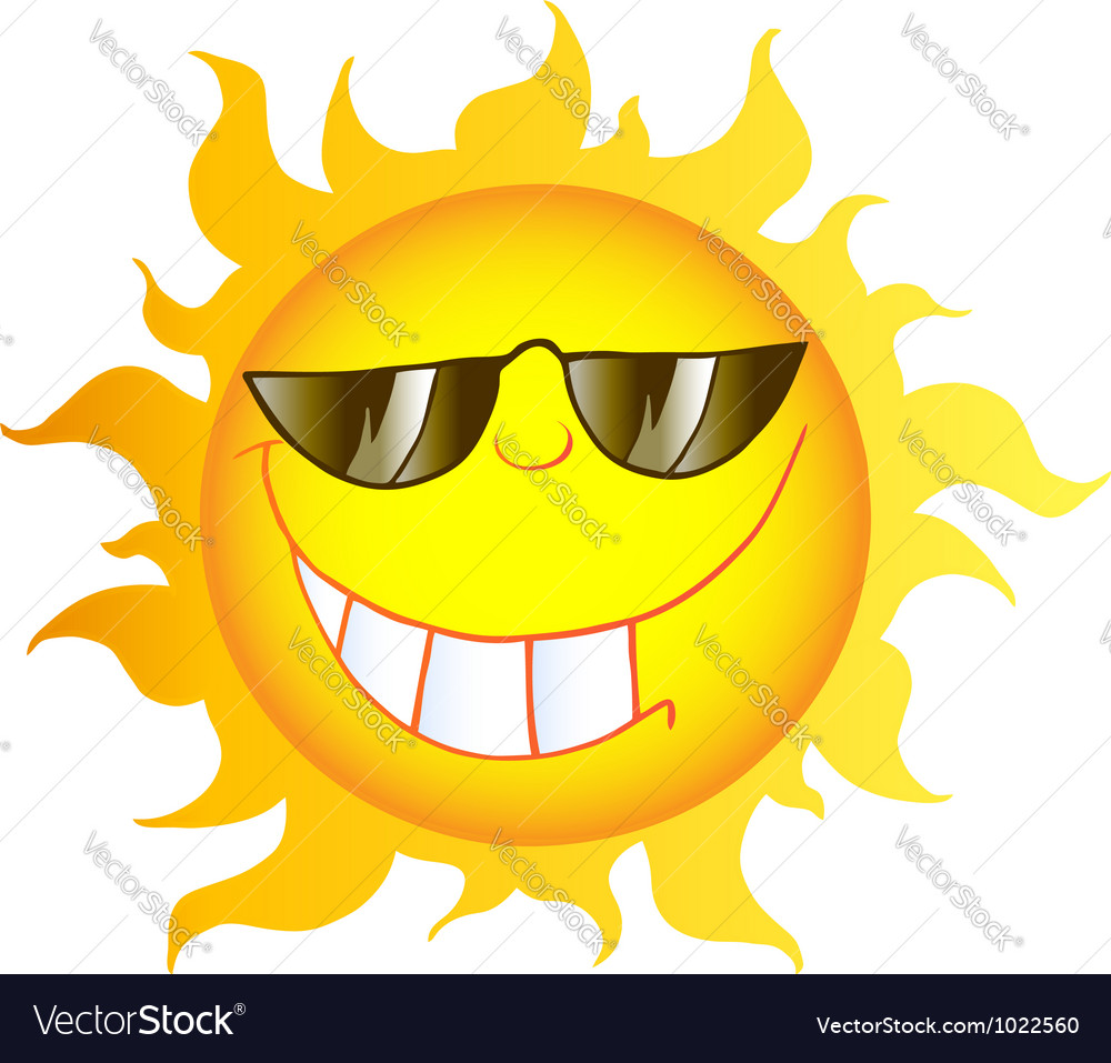 smiling sun cartoon character with sunglasses vector image rh vectorstock com funny cartoon pictures of the sun cartoon images of sunbathing